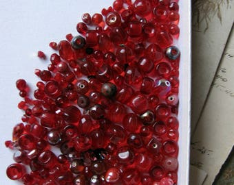 red glass bead soup - vintage and Swarovski mix of transparent cherry hues