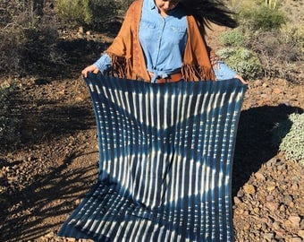 "Stripes & Diamonds Tie Dye Vintage African Mud Cloth, 43 x 61"" / Bogolanfini Blanket from Mali, West Africa Textiles, Bohemian, Home Decor"