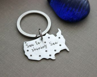 sea to shining sea - pewter USA key chain - United States - US Hometown Pride Key Ring - Patriotic quote Gift for Traveler - America