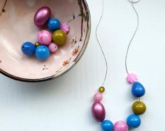 harajuku necklace - vintage remixed lucite - bold color - pink, blue, olive, green - floral, metallic