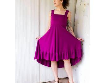 Serenity Tank Dress - Organic Lined Bust A-Line Ruffled Tank Dress - Organic Clothing - Eco Fashion - Made to Order - Boho Chic Summer Dress