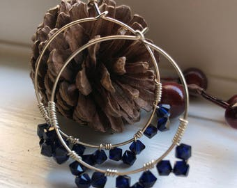 Wire Wrapped Swarovski Crystal Hoops, Sterling Silver Hoops, Crystal Hoops, Blue Crystal Hoops