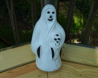 "vintage Halloween decor, ghost blow mold, lighted, 13"", holding skull, Halloween light, Bayshore"