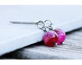 Agate Earrings Pink | Pink Stone Earrings | Pink Drop Earrings | Dangle Earrings | Silver Pink Earrings | Hot Pink Earrings | Fuchsia Stone