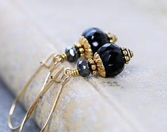 Black Earrings | Bead Drop Earrings | Black Gold | Every Day Earrings | Gold Color Jewelry | Wife Gift for Her | Czech Glass Earrings