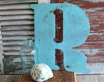 Letter R Initial R Vintage Metal Sign by avintageobsession on etsy