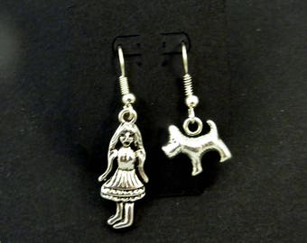 Wizard of Oz Dorothy and Toto Dangle Earrings.   For Pierced Ears.