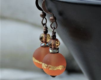 Orange and Copper Lampwork Drop Earrings