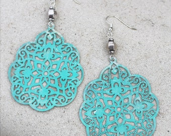 Large Bohemian Chandelier Patina Earrings - Aqua Blue, Light Weight, Dangle Earrings