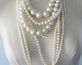 RESERVED for Jenna Huge Pearl Necklace, Multi-strand, Statement, Cream Faux Pearls, Chunky Beaded Necklace, Modern Bride Jewelry