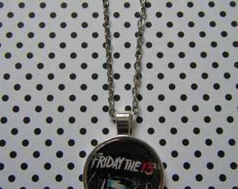Friday the 13th movie poster silver pendant necklace