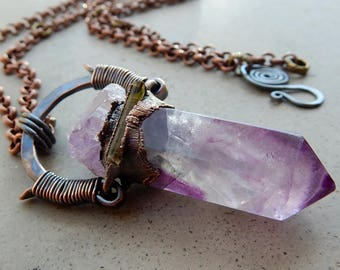 Tribal Amulet with Purple Green Rainbow Fluorite, Elestial Amethyst, and Green Tourmaline, Protective Talisman, Aura and Chakra Cleanser...