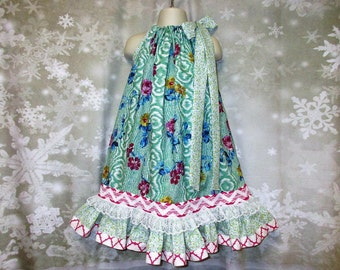 Girls Dress 5/6 Sea Foam Green Pink Gold Flower Pillowcase Dress, Sundress, Pillowcase Dress
