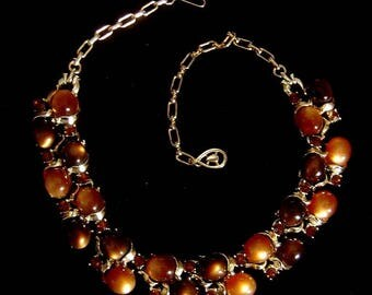 Vintage Necklace brown and mocha moonglow cabochons & rhinestones