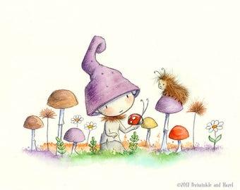 Sage Lemonthistle Collects Ladybugs - Lavender Cap Mushroom  - Fairy Art - Art Print