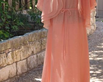 Vintage Travilla Dress - Orange Peach Chiffon Maxi Formal with Cape Jacket