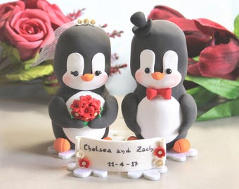 XL Extra LARGE wedding cake toppers or centerpieces Penguins bride groom figurines + Snowflake felt base - wedding decorations table red