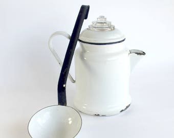 Vintage White Enamel Coffee Pot Ladle Set Cobalt Blue Trim Chippy Cottage Farmhouse Kitchen Decor