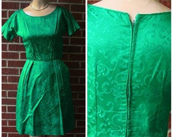 Vintage Brocade Green Silk 50s 1950s 60s 1960s Holiday Tea Party Dress