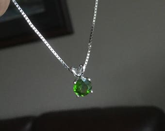 Chrome Diopside solitaire pendant necklace 14k white gold