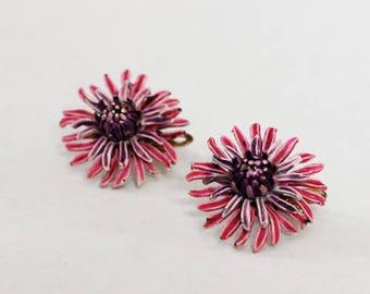 1950s Corocraft Pink & Purple Flower Clip On Earrings