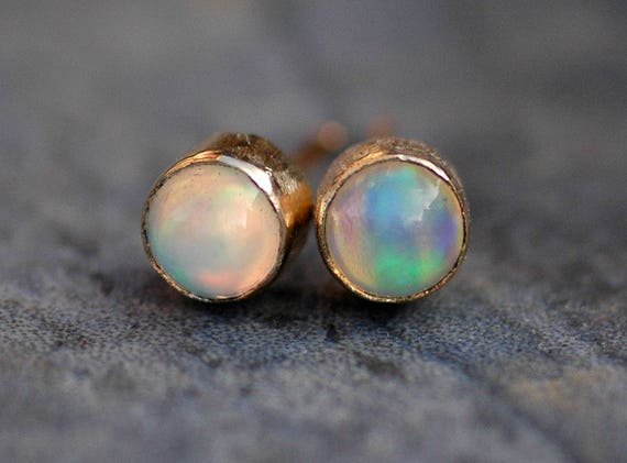 Opal and 14k Yellow Gold Earrings- Reserved Listing