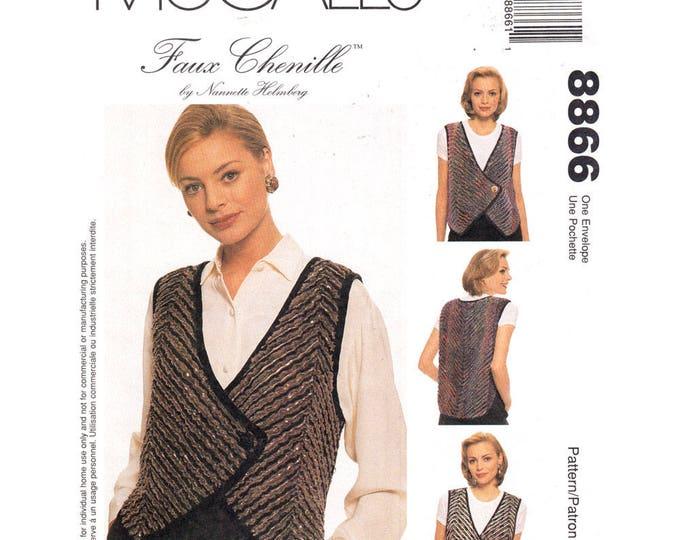 Wrap Vest Sewing Pattern McCalls 8866 Faux Chenille Vest Loose Waistcoat Size 8 to 22 Plus