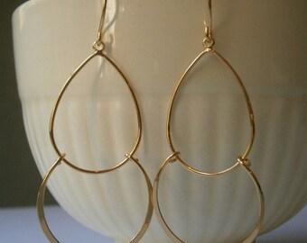 Modern Gold Earrings, Double Hoop Earrings, Mom, Wife Gift, Best Friend, Holiday Gift