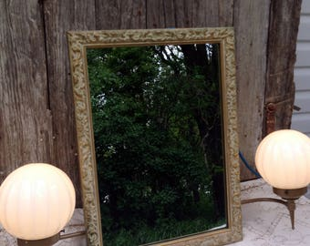 Vintage Gold Mirror/Light Recessed Medicine Cabinet Hollywood Regency Art Deco