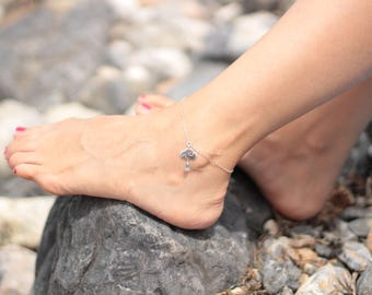 SWEET CLOUDS - sterling silver ankle bracelet with a cloud and a drop of rain - Glossy finish