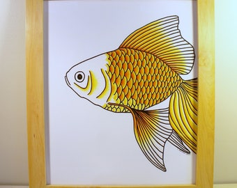 Framed Original Goldfish Head Drawing