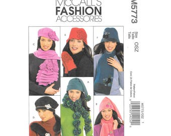 Fashion Accessories Pattern McCalls #5773 - DIY - Misses Hats, Scarves & Mittens - 6 Different Hats, 4 Scarves, 2 Mittens - Great Pattern