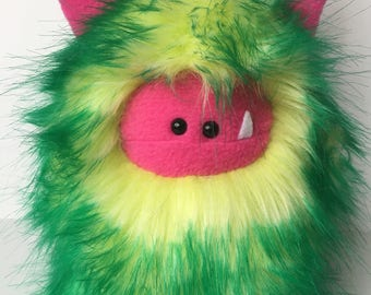 Stuffed Monster - Monster Plushie - Green Monster Doll - Cuddly Girl Monster - Soft Toy Plush Monster - Fuzzling - Monster Softie - Handmade