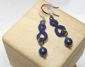 Tatted jewelry Ring earrings with blue beads -Drops in navy casual earrings cobalt glass beads