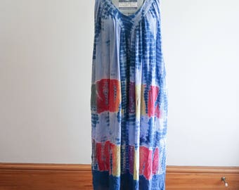 Summer of LOVE 70s cotton gauze indigo tie dye hippie festival dress OS Small / Medium