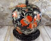Vintage Chinese Porcelain Lidded Jar, Large Ginger Jar,  Qianlong Dynasty Reproduction, Pomegranates and Peony