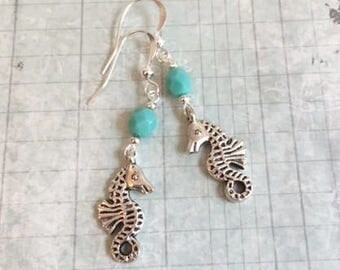 Clearance Sale Seahorse Earrings, Turquoise Blue