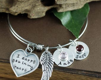 I Carry You in My Heart Bangle Bracelet, Personalized Memorial Necklace, Remembrance Jewelry, Hand Stamped Bracelet, Loss Jewelry