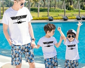 3 shirts | Father Son Matching Shirt | Maverick Iceman Goose | Fathers Day Gift | sons dad | Mommy | Daddy and Me | tshirt set FREE SHIPPING