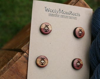 4 Wooden Ladybug Buttons- - Wooden Buttons- Eco Craft Supplies, Eco Knitting Supplies, Eco Sewing Supplies