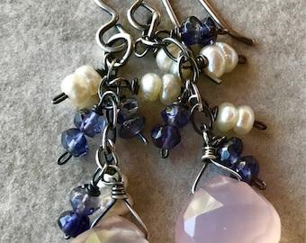 Pink Chalcedony Dangle Earrings, Iolite Earrings, Pearl Earrings, Cluster Earrings, Multi Stone Earrings, Pink, Blue and White Earrings