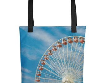 Whimsical Carnival Ferris Wheel Reusable Grocery Bag Beach Tote Bag Chicago Print Printed Tote Shoulder Bag Shopper Eco Friendly