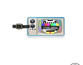 Luggage Tag Vintage TV Test Screen Metal Luggage Tag With Printed Custom Info On Back, Single Tag