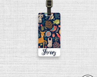 Luggage Tag Woodland Creatures Personalized Name Luggage Tag  With Printed Custom Info On Back , Single Tag Fox Deer birds Bunny