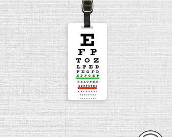 Luggage Tag Eye Chart Vision Chart Luggage Tag - Full Metal Tag Luggage Tag  Personalized Single Tag