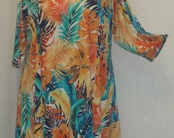 Plus Size Tunic, Coco and Juan, Plus Size Asymmetrical, Tunic Top, Turquoise Tropical, Traveler Knit Size 1 (fits 1X,2X)   Bust 50 inches