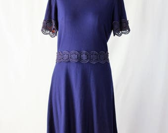 1960s Mod Navy Blue Knit Dress
