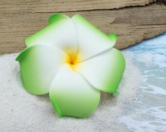 Green Flower Hair Clip, Pink and Green, 3 inch, Floral Hair Clip, Hawaiian Hair Flower