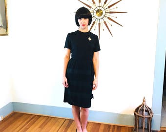 Black Cocktail Dress, Vintage 50s Dress, Lora Lenox dress, 50s wiggle dress, 50s cocktail dress, Pencil Skirt Dress, 60s wiggle dress, M LBD