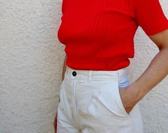 Vintage Shirt Red Knit Short Sleeve